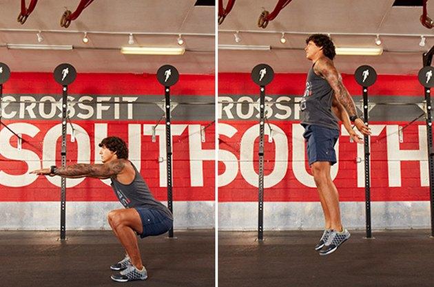 Man performing CrossFit jump squats.