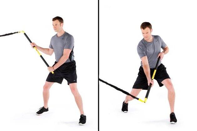 Man performing rip hockey slapshot TRX exercise