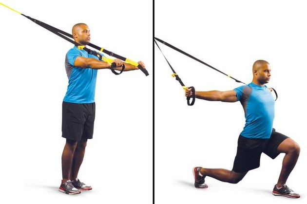 Proper form for step forward lunge with T-fly TRX exercise