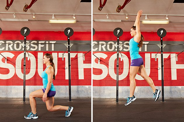 Woman performing lunge jumps.