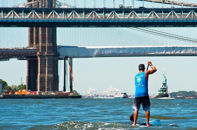 Paddleboarder during Sea Paddle NYC