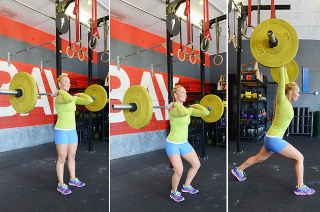 Woman performing split jerk exercise.
