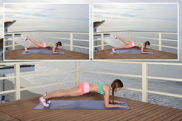Woman Demonstrating Forearm Plank With Alternating Leg Lifts