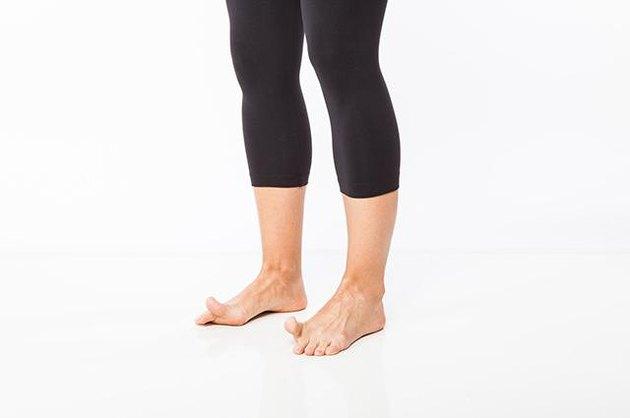 Woman demonstrating great toe lift.