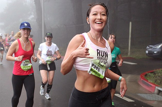 Smiling women at race