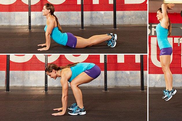 Woman performing CrossFit burpees.