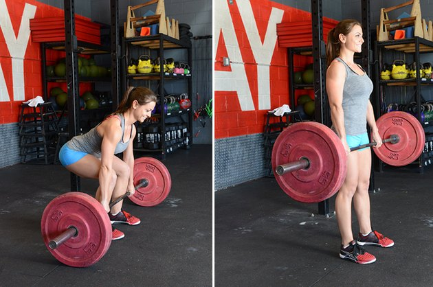 Woman performing deadlift.