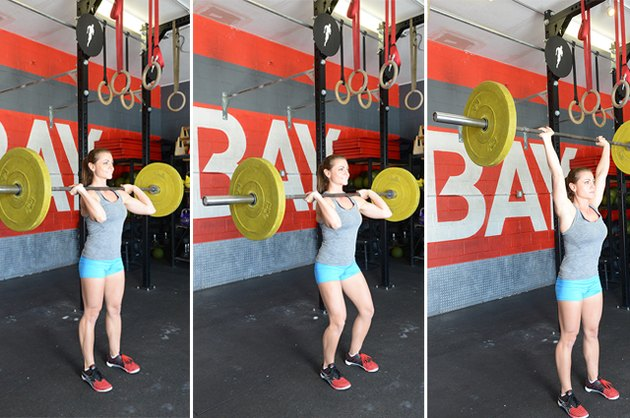 Woman performing push press.