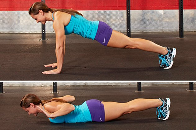 Woman performing hand-release push-ups.