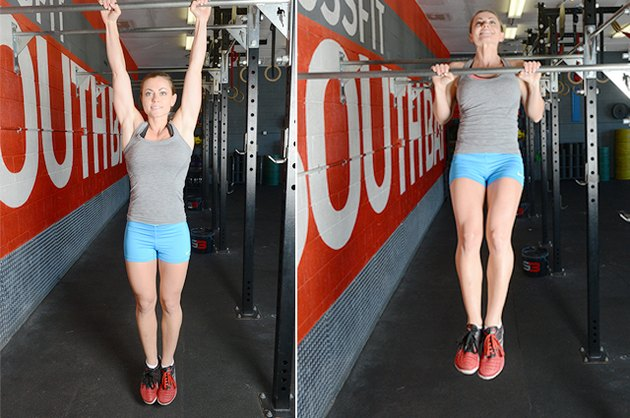 Woman performing chest-to-bar pull-ups.