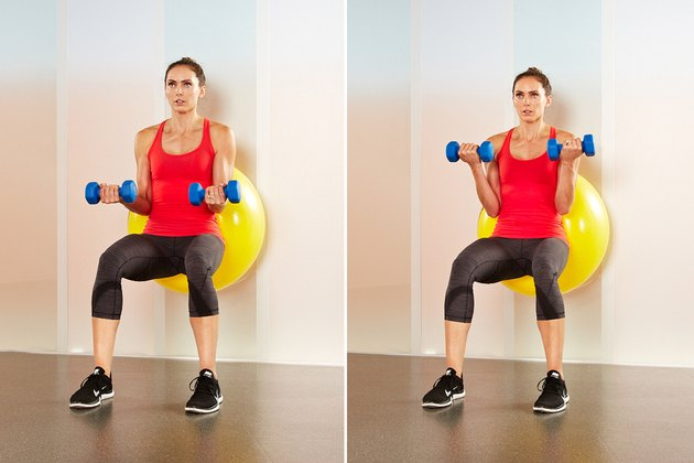 Move 2: Stability-Ball Biceps Curl