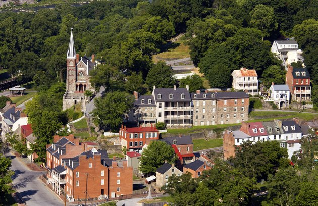 Aerial view Harpers Ferry national park
