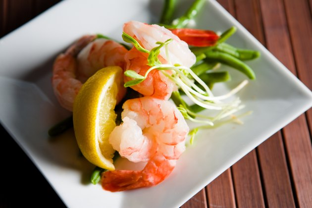 Plate of shrimp with vegetables