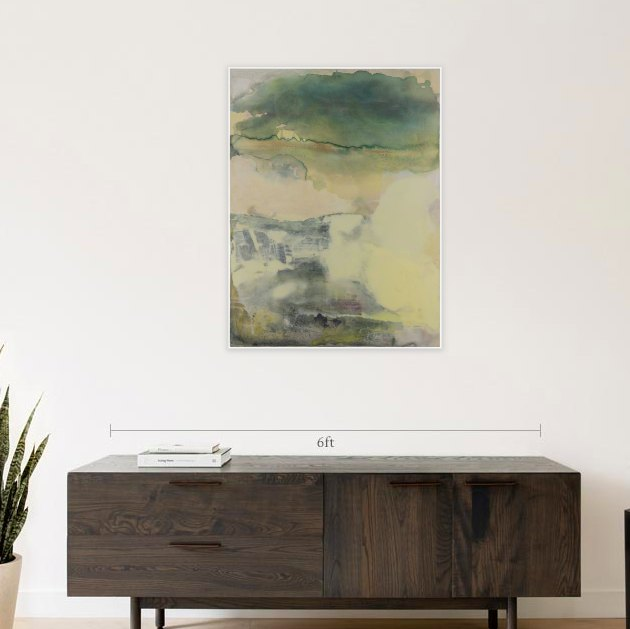 A touch of art never hurt anybody, right? And adding personal touches to your sleep spot only enhances the at-home, cozy feelings you crave. If you need some inspo, take notes from this beautiful acrylic painting that's described as a flowing watery abstract meant to invoke a peaceful dreamy state.