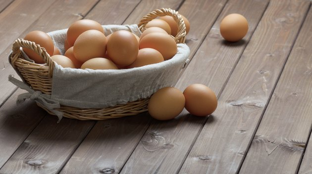hicken eggs in a basket