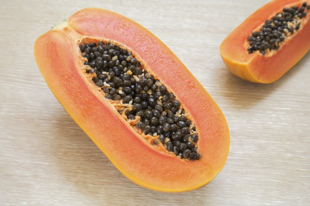 Papaya with seeds ripe and fresh