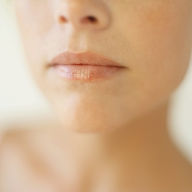 close-up of a young woman's lips