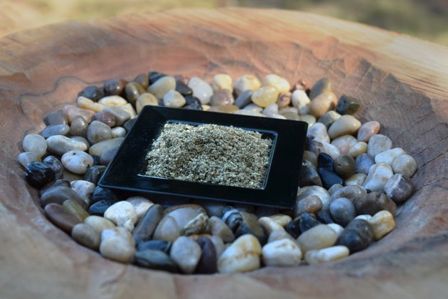 Rubbed Sage in a Small Black Dish