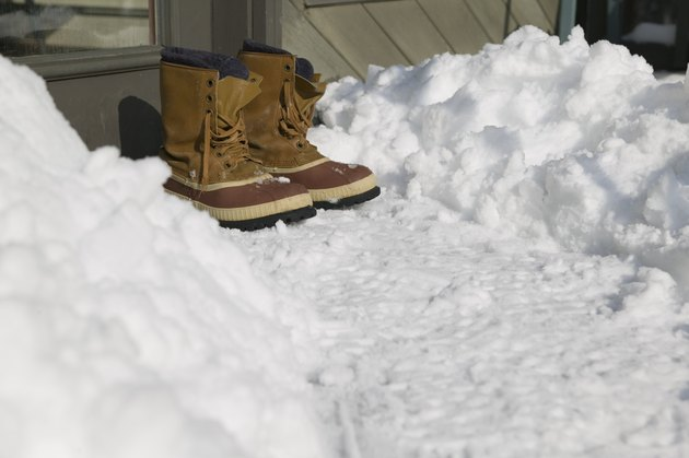 Snow boots on path