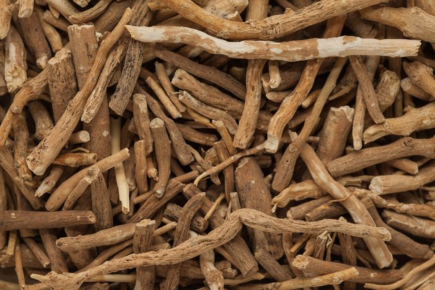 Background texture of Organic Ashwagandha (Withania somnifera) roots.