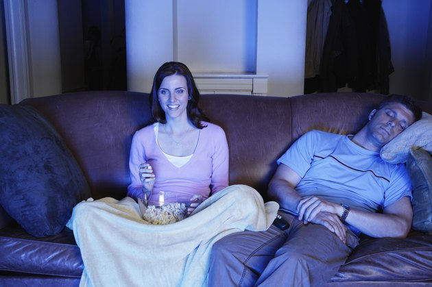 Couple Watching Movie and Eating Popcorn