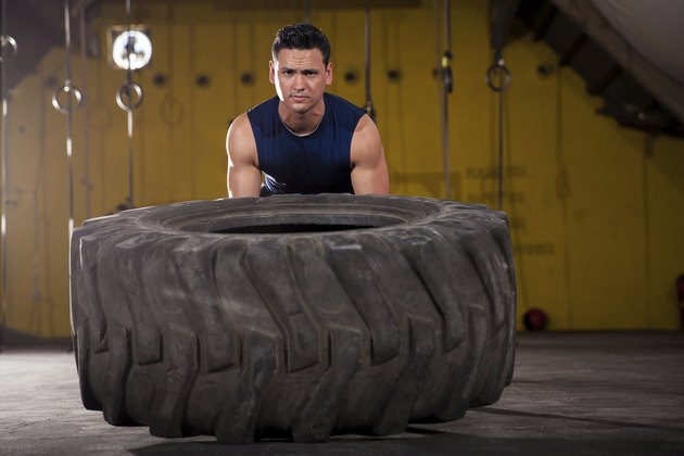 Exercising with a big tire