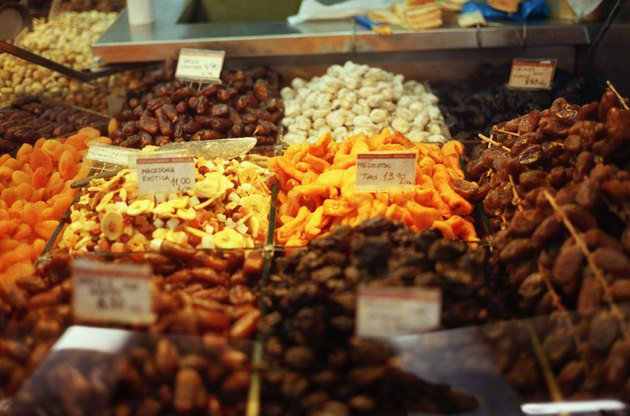 Close-up of assorted nuts and dried fruits in a market in Barcelona