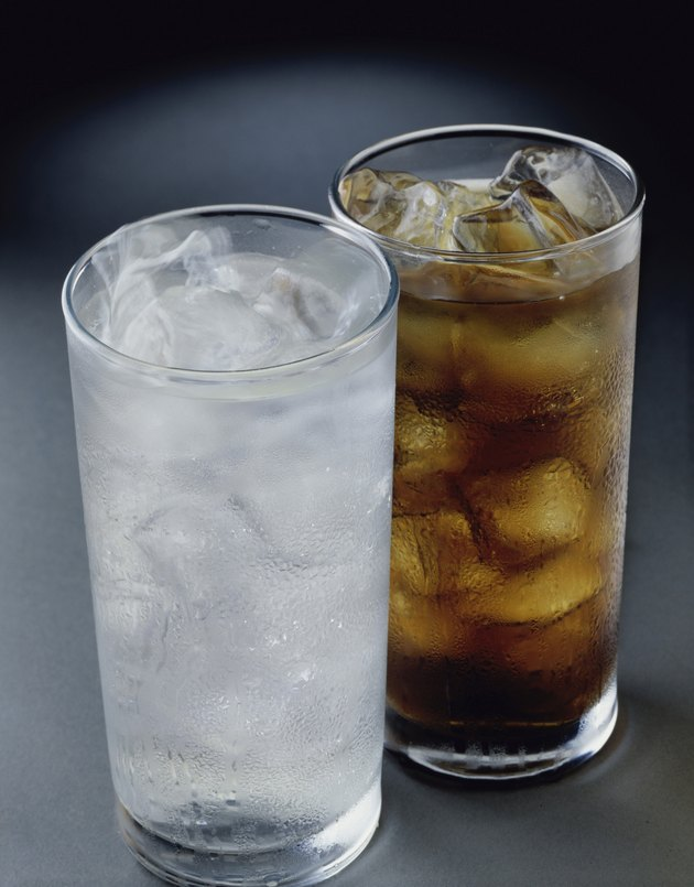 Glass of iced tea and a glass of soda