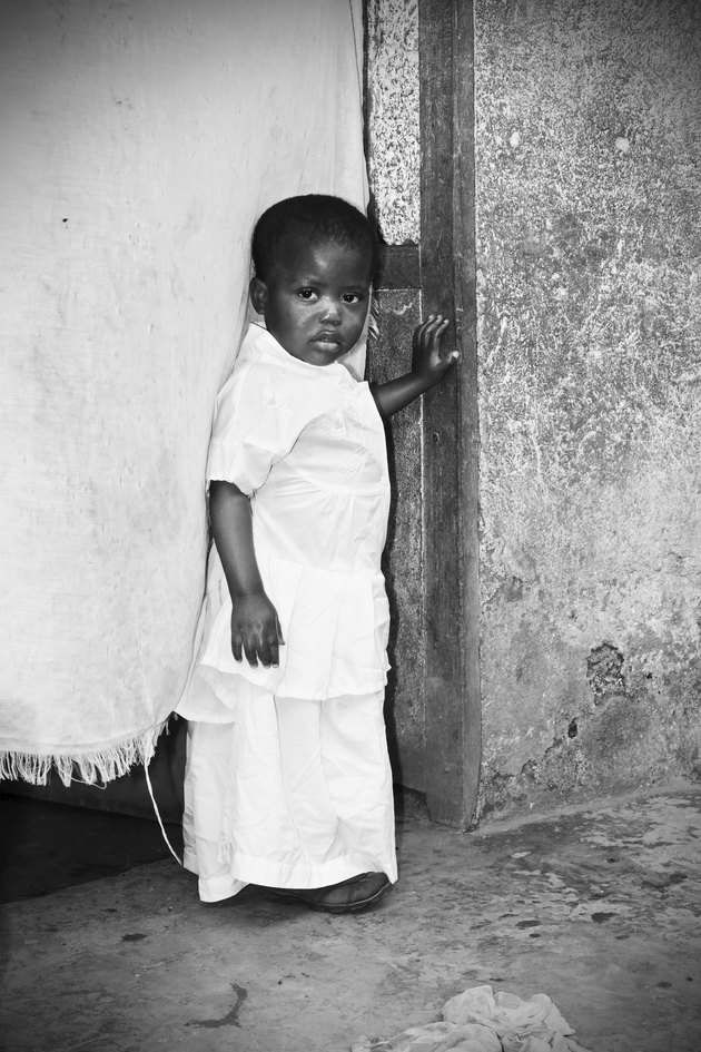 Black and white of African girl