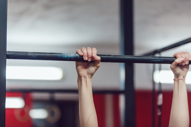Arms. Horizontal bar. Close-up.