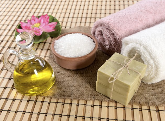 Handmade olive soap, sea salt and towel.