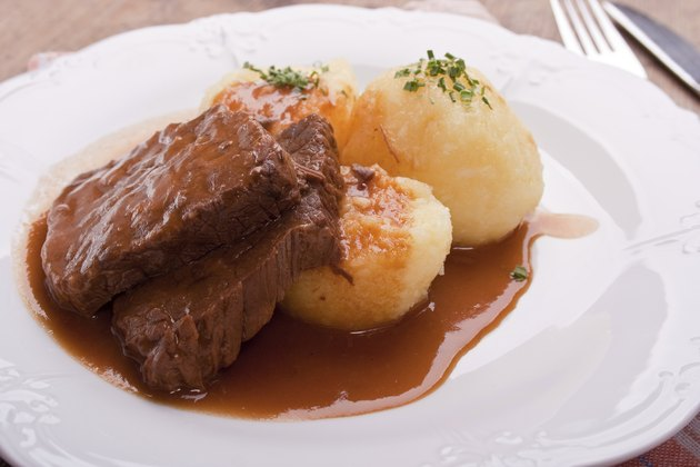marinated beef with potato dumplings