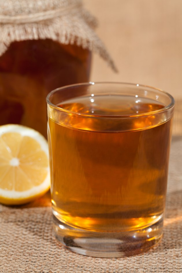 Kombucha superfood pro biotic tea fungus beverage in glass