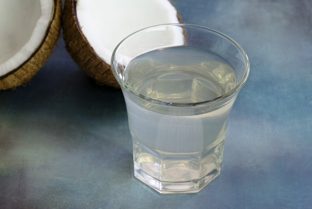 coconut water with split coconut