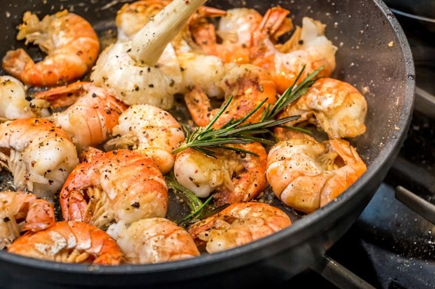 Pan fried shrimp with rosemary