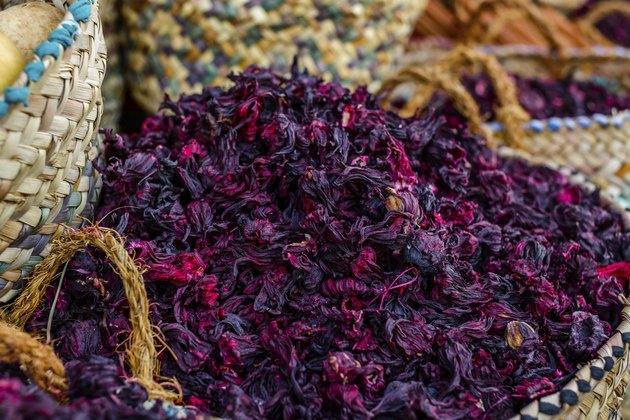 Hibiscus tea. Selective focus