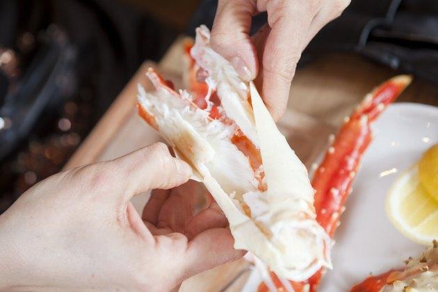 Eating Alaskan King Crab