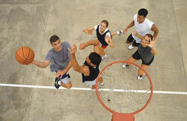 Group of young people playing basketball, elevated view