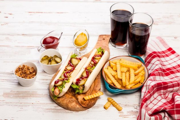 Hot dogs, french fries and soda