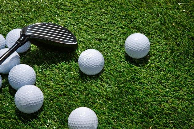 Golf balls and club