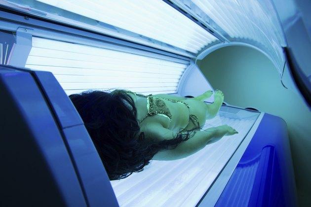 Woman in solarium