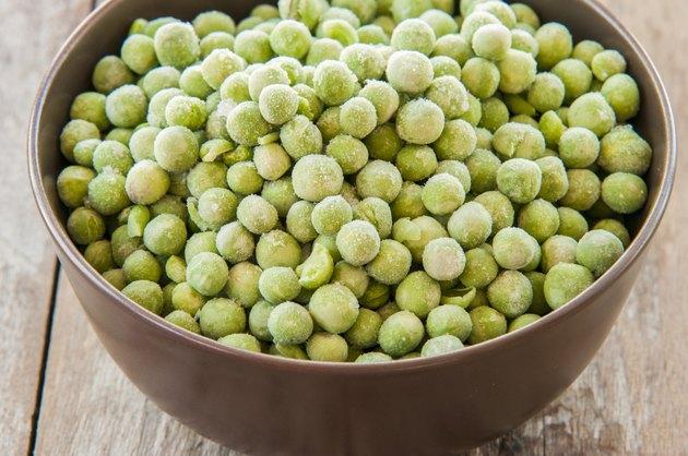 fresh frozen peas in bowl