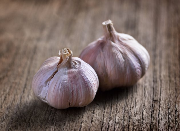 garlic on wooden