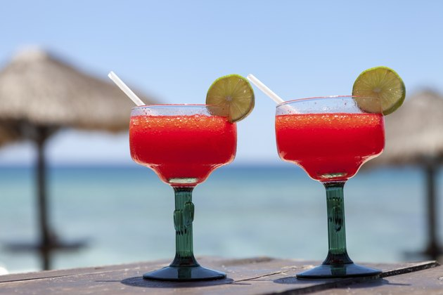 Frozen strawberry margaritas on the beach
