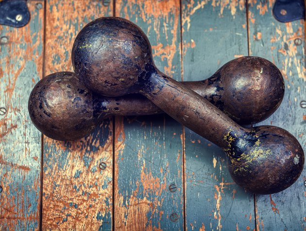 Retro iron grunge dumbbells