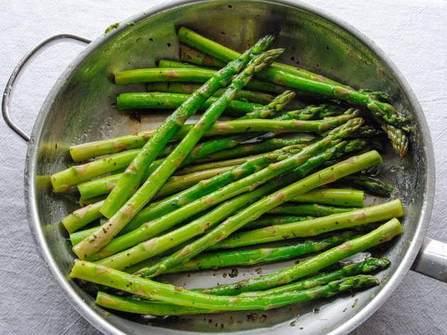Cooked Organic Asparagus in a Frying Pan