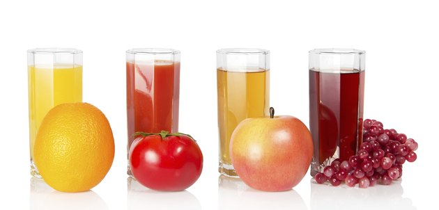 Various juice, fruit and the vegetables