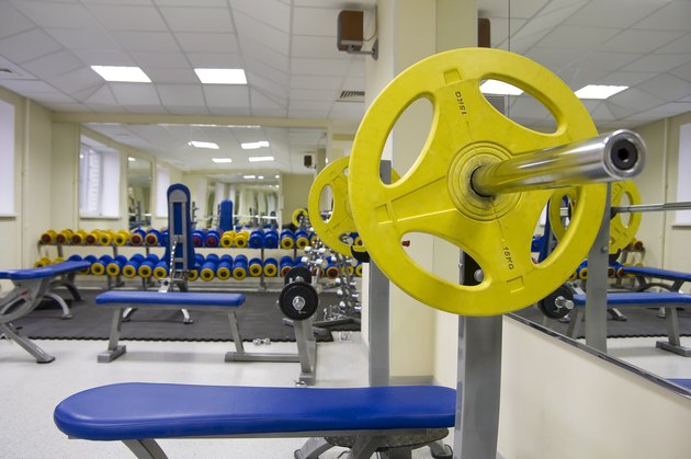 Barbell in the fitness club