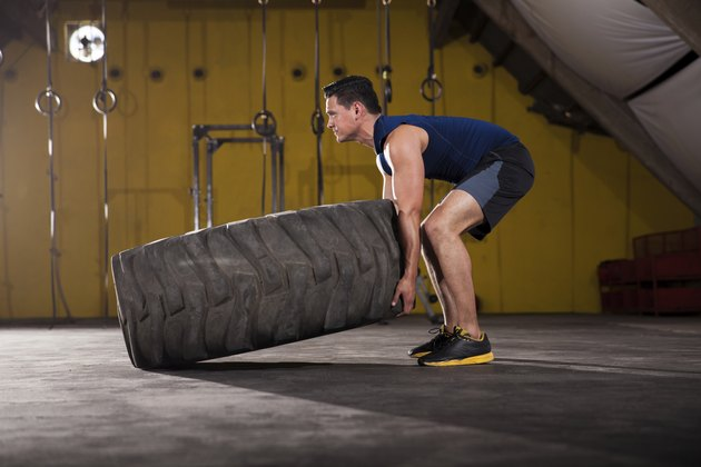 Flipping a tire in a gym