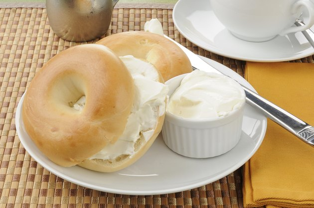 Sliced bagel with cream cheese